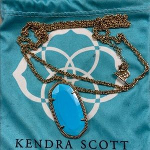 EUC Kendra Scott blue and gold long necklace